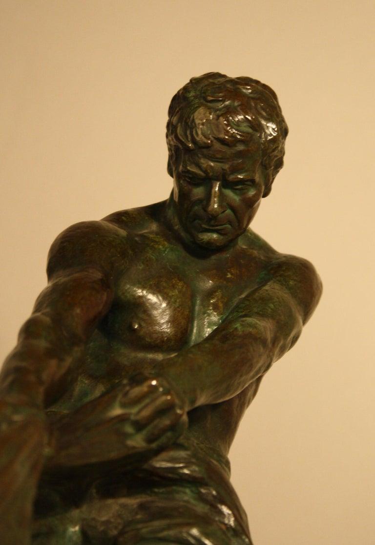 Art Deco Bronze Sculpture by Alexandre Ouline, France, 1930s For Sale 4