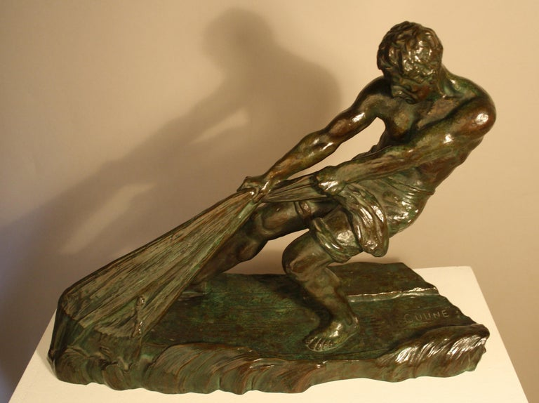 French Art Deco Bronze Sculpture by Alexandre Ouline, France, 1930s For Sale