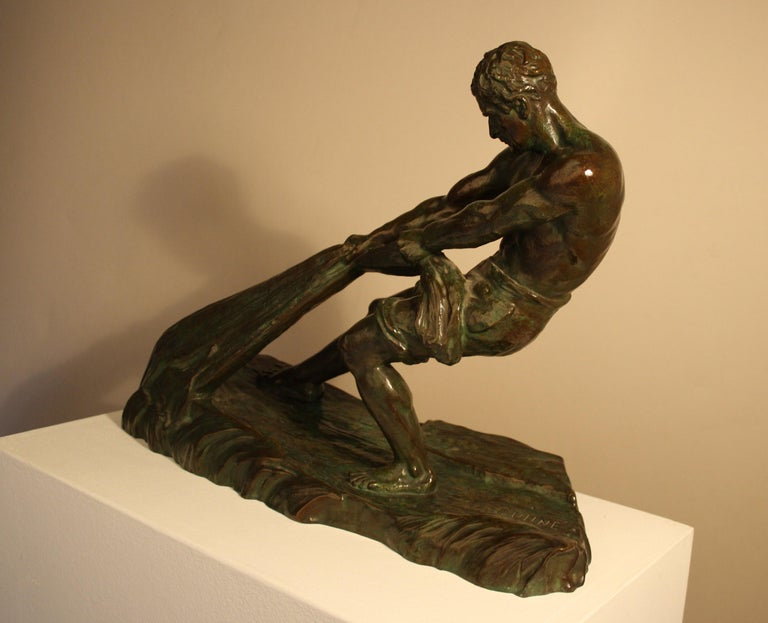 Patinated Art Deco Bronze Sculpture by Alexandre Ouline, France, 1930s For Sale
