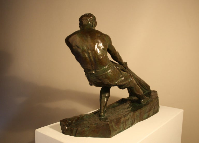 Mid-20th Century Art Deco Bronze Sculpture by Alexandre Ouline, France, 1930s For Sale