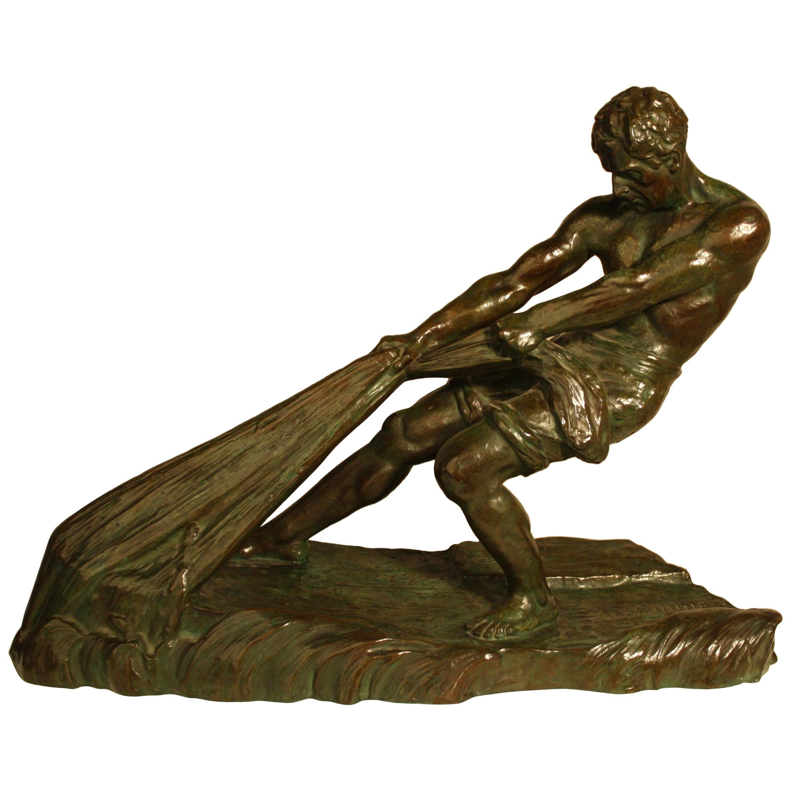 Art Deco Bronze Sculpture by Alexandre Ouline, France, 1930s