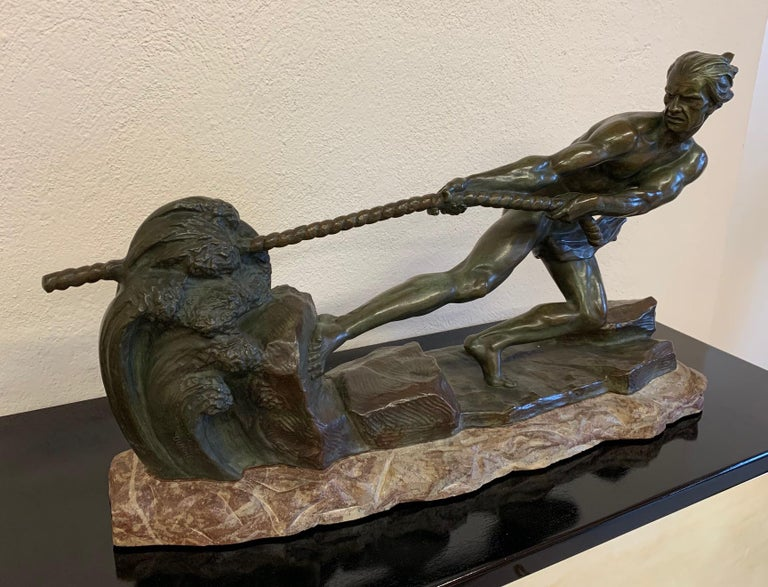 Art Deco Bronze Sculpture by Alexandre Ouline, France, 1930s In Good Condition For Sale In Meda, MB