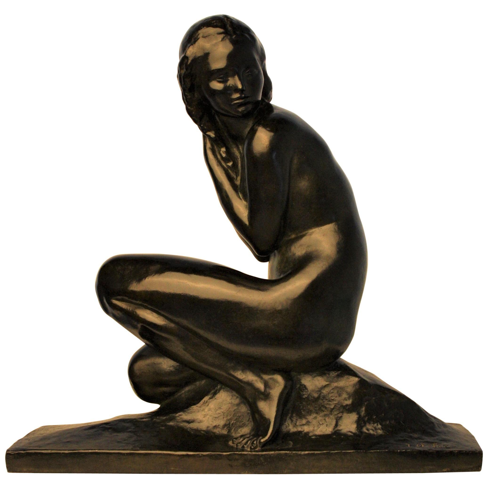 Art Deco Bronze Sculpture by Jean Ortis, 1930