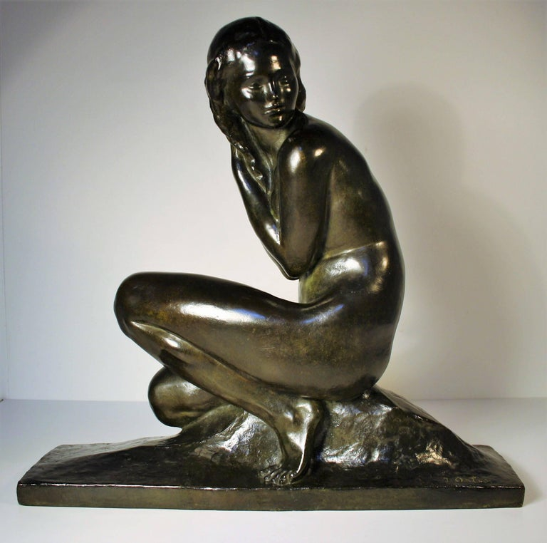 Art-Déco Bronzeskulptur von Jean Ortis, 1930 12