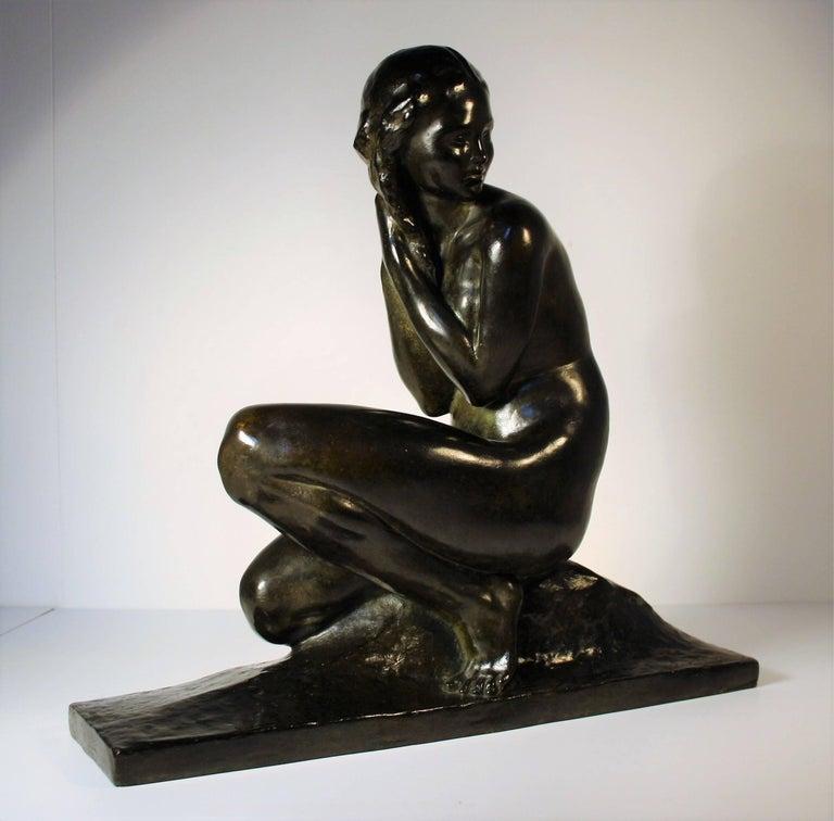 Art-Déco Bronzeskulptur von Jean Ortis, 1930 3