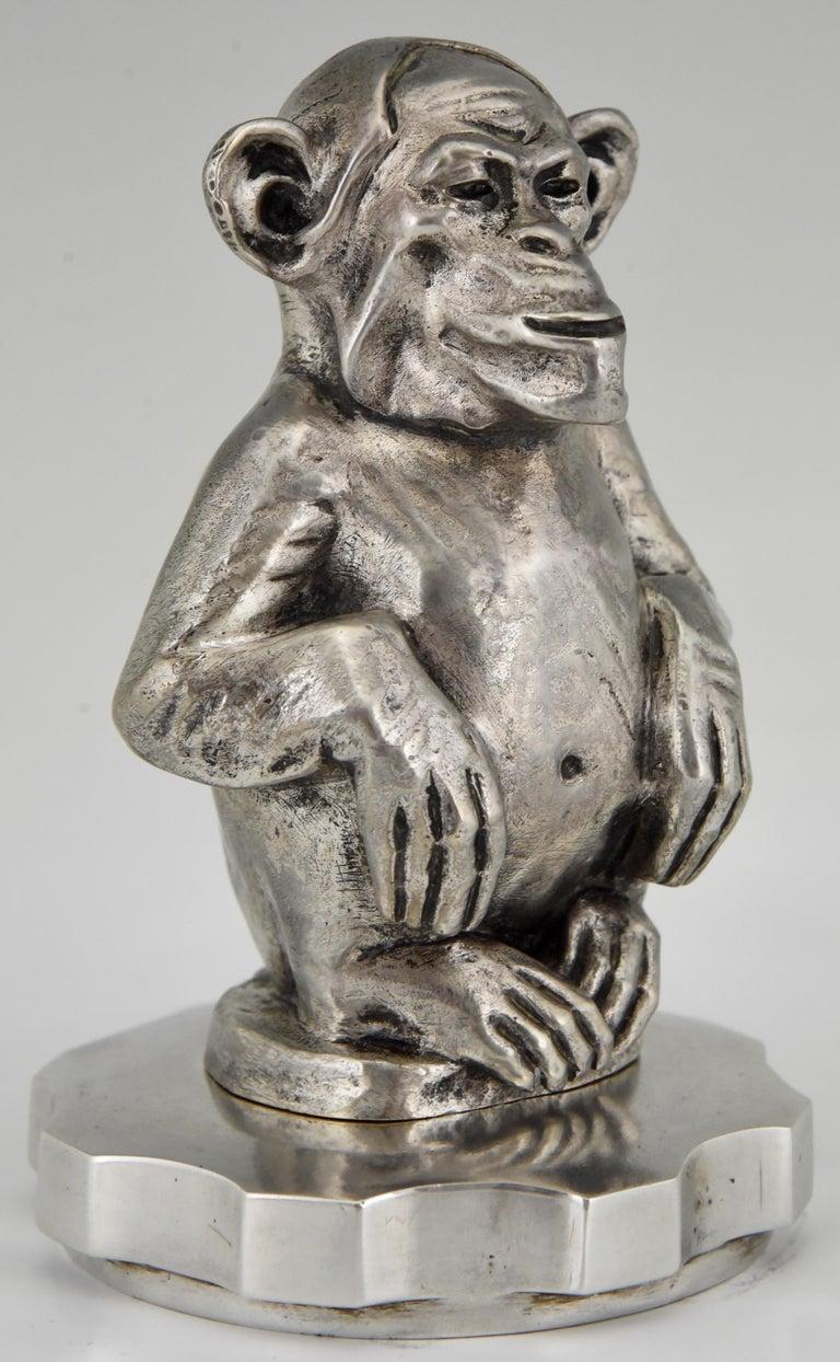 Early 20th Century Art Deco Bronze Sculpture Car Mascot Monkey Chimpanzee Maurice Guiraud-Rivière For Sale