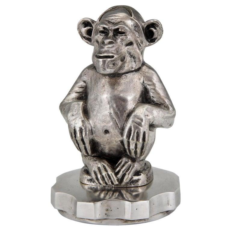 Art Deco Bronze Sculpture Car Mascot Monkey Chimpanzee Maurice Guiraud-Rivière For Sale