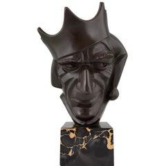 Art Deco Bronze Skulptur Hofnarr mit Krone von Roland Paris, 1920