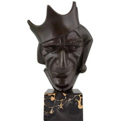 Art Deco Bronze Sculpture Court Jester with Crown by Roland Paris, 1920