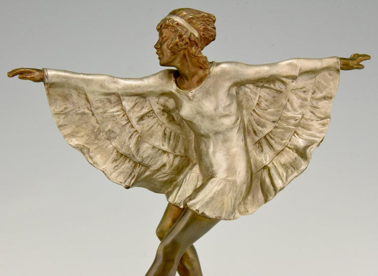 Art Deco Bronze Sculpture Dancer with Butterfly Dress Marcel Andre Bouraine For Sale 3