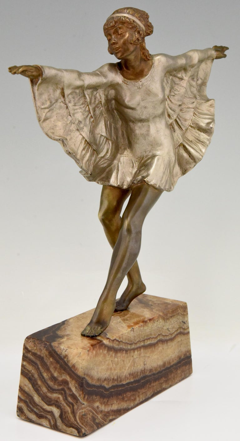 French Art Deco Bronze Sculpture Dancer with Butterfly Dress Marcel Andre Bouraine For Sale