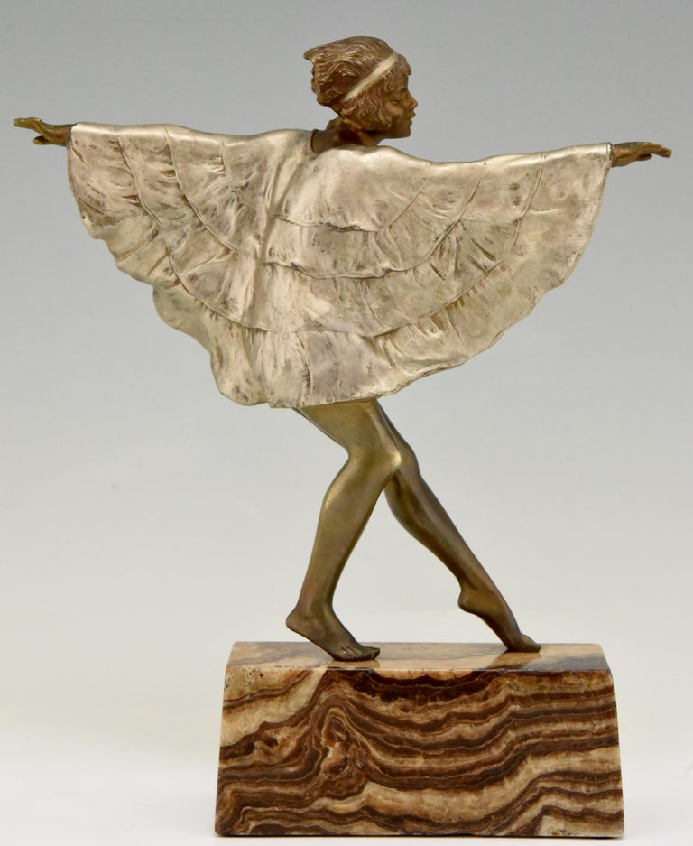 Early 20th Century Art Deco Bronze Sculpture Dancer with Butterfly Dress Marcel Andre Bouraine For Sale