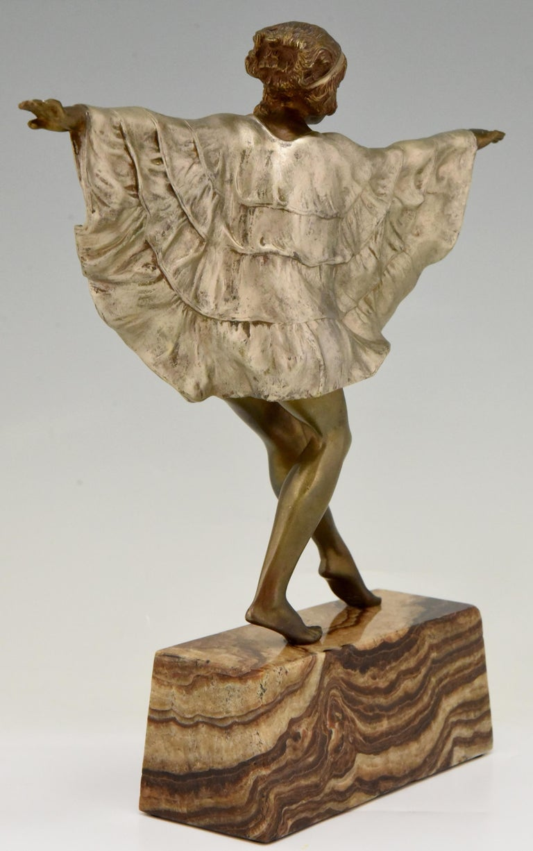 Marble Art Deco Bronze Sculpture Dancer with Butterfly Dress Marcel Andre Bouraine For Sale
