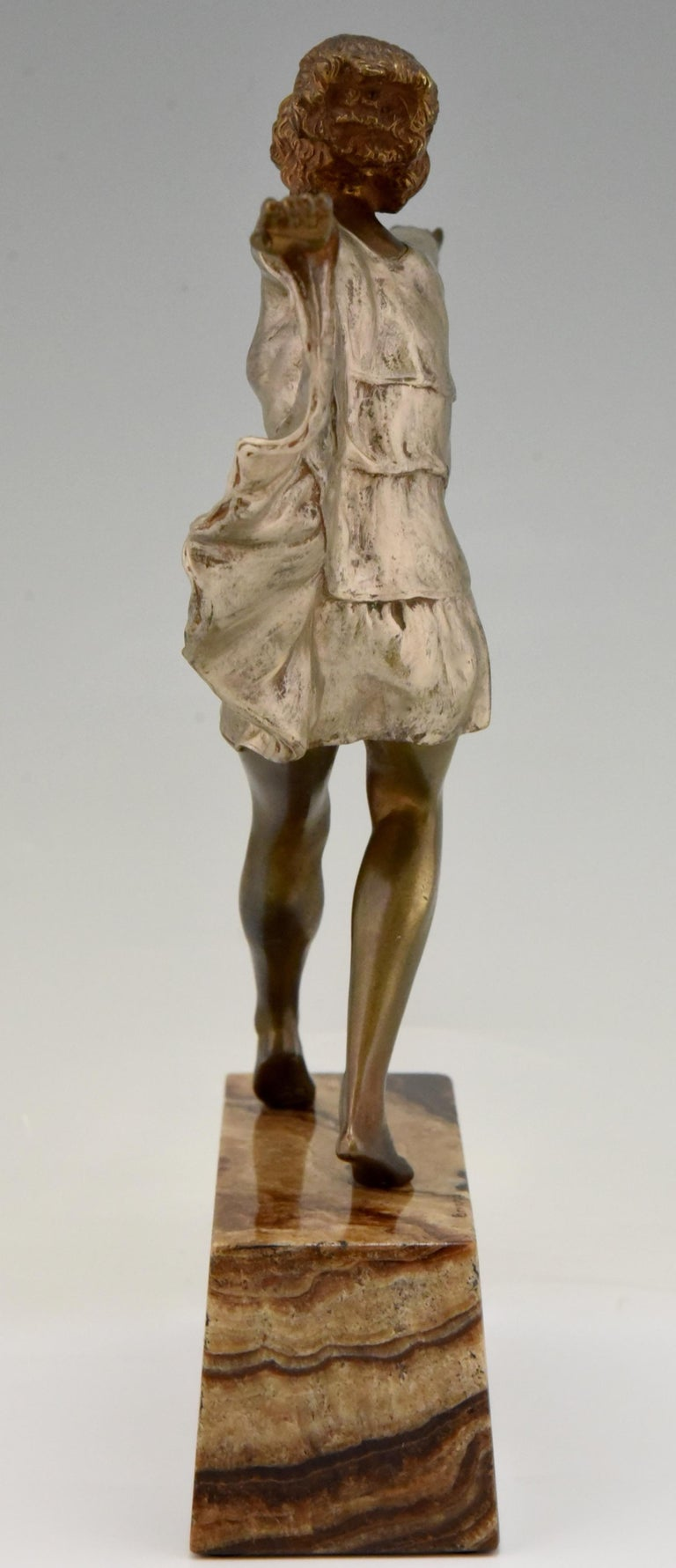 Art Deco Bronze Sculpture Dancer with Butterfly Dress Marcel Andre Bouraine For Sale 1