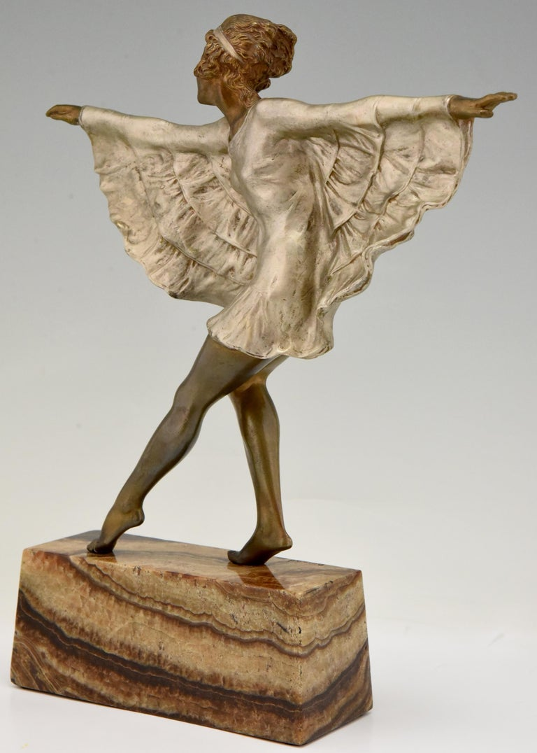 Art Deco Bronze Sculpture Dancer with Butterfly Dress Marcel Andre Bouraine For Sale 2