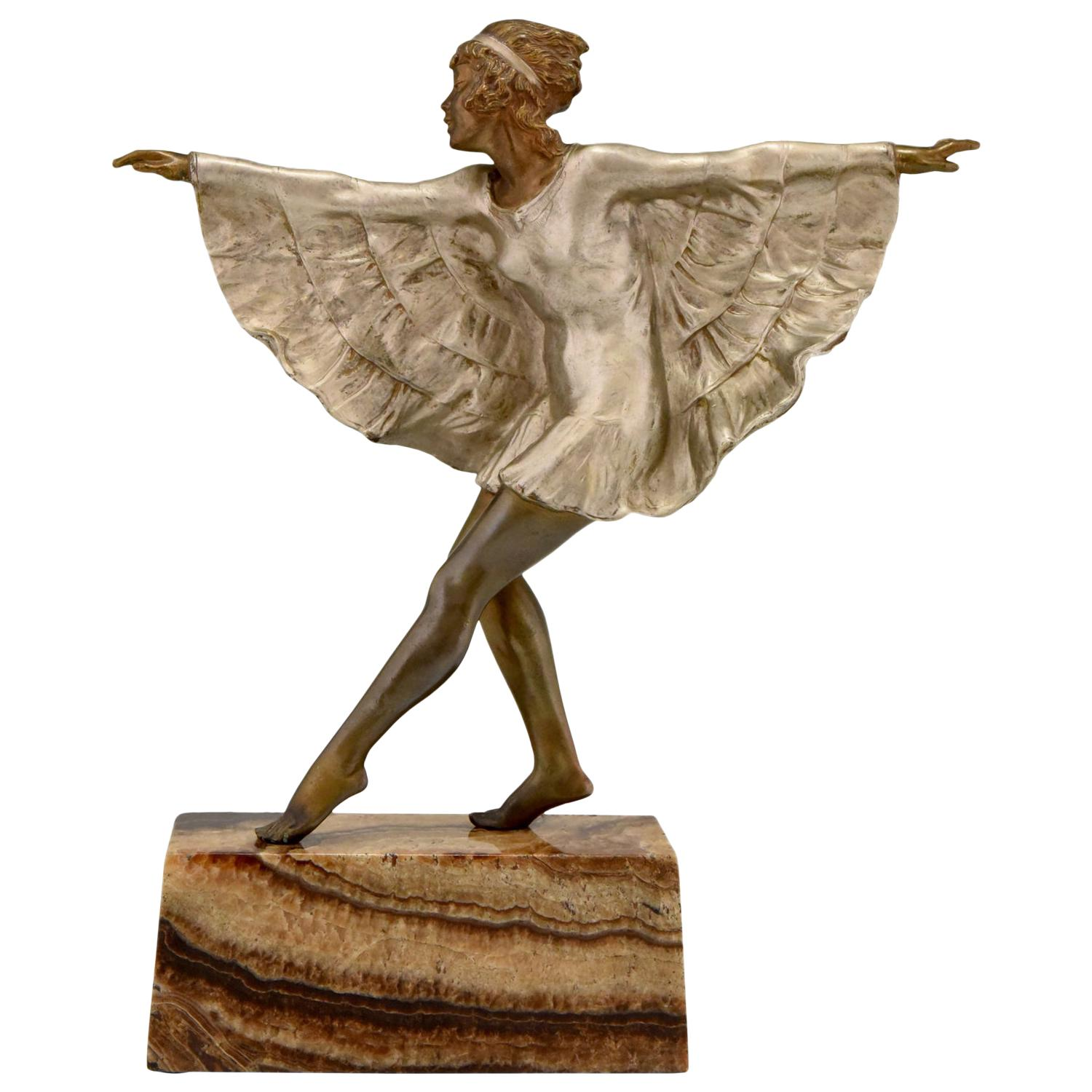 Art Deco Bronze Sculpture Dancer with Butterfly Dress Marcel Andre Bouraine