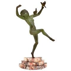 Art Deco bronze sculpture dancing nude with birds Marcel Andre Bouraine 1930