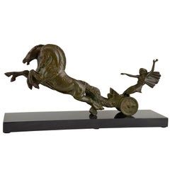 Art Deco Bronze Sculpture Horse and Carriage Jean Charles Ruchot, France, 1930