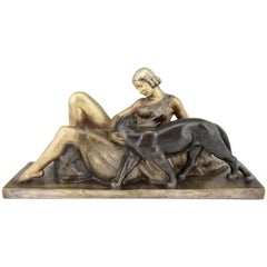 Art Deco Bronze Sculpture Lady with Panther Alexandre Ouline, France, 1930