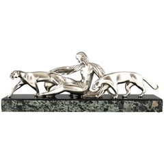 Art Deco Bronze Sculpture Lady with Two Panthers Michel Decoux, France, 1920