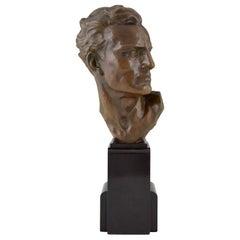 Art Deco Bronze Sculpture Male Bust Ugo Cipriani, 1930