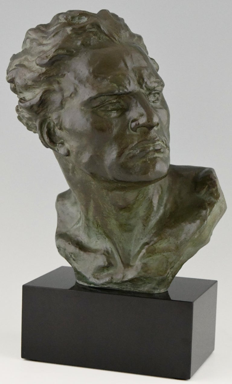 French Art Deco Bronze Sculpture Male Bust Ugo Cipriani, France, 1930 For Sale