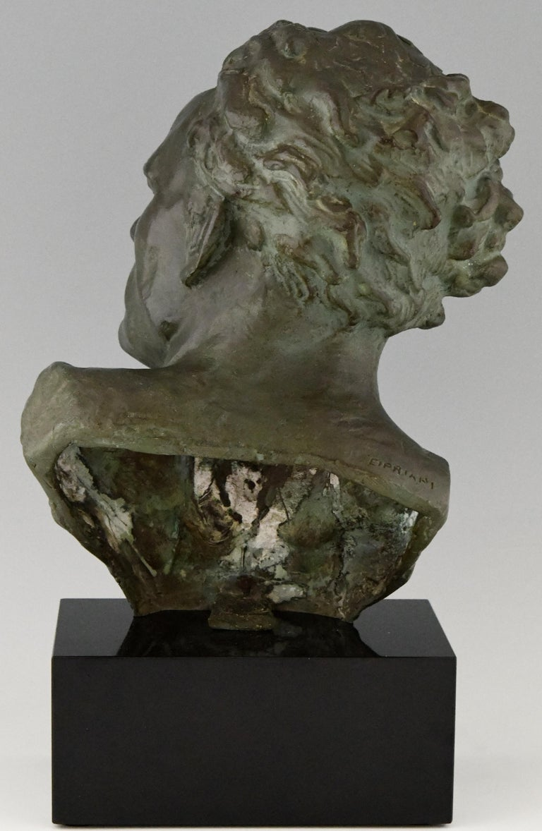 20th Century Art Deco Bronze Sculpture Male Bust Ugo Cipriani, France, 1930 For Sale