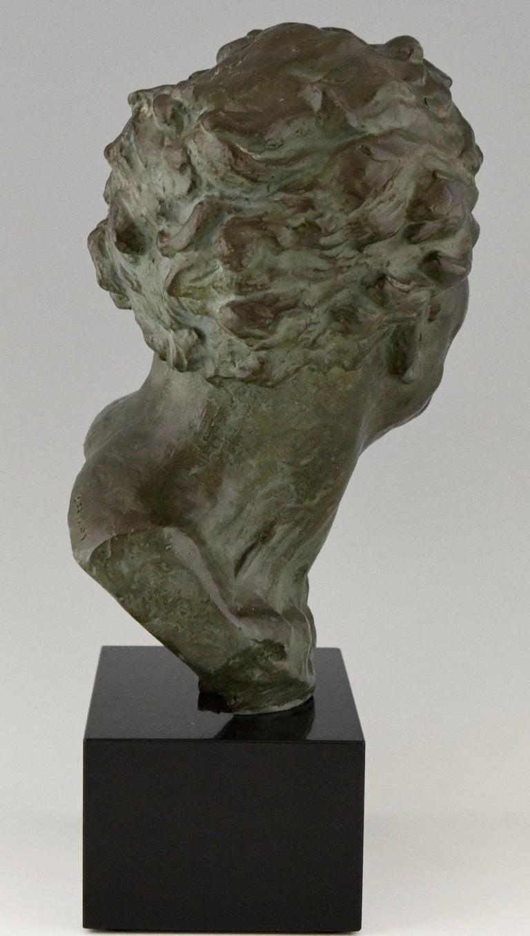 Art Deco Bronze Sculpture Male Bust Ugo Cipriani, France, 1930 For Sale 1
