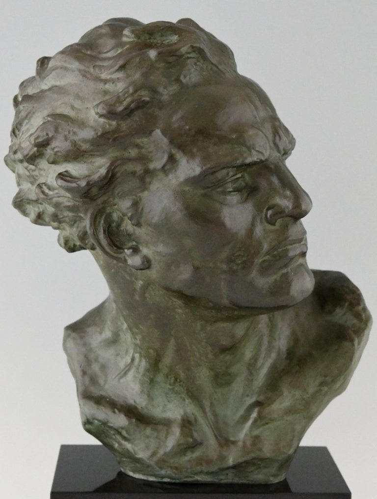 Art Deco Bronze Sculpture Male Bust Ugo Cipriani, France, 1930 For Sale 3