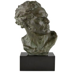 Art Deco Bronze Sculpture Male Bust Ugo Cipriani, France, 1930