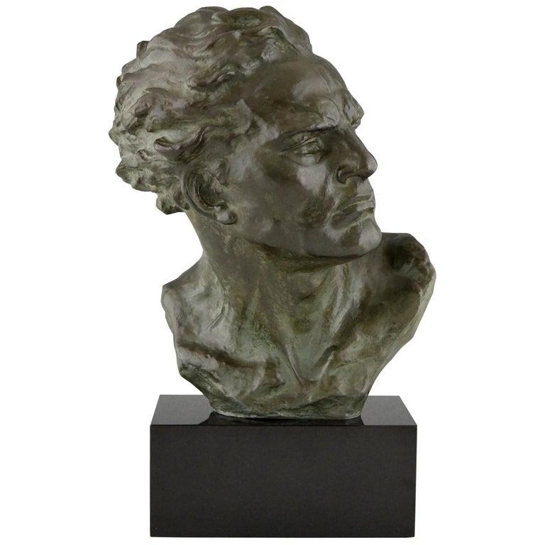 Art Deco Bronze Sculpture Male Bust Ugo Cipriani, France, 1930 For Sale