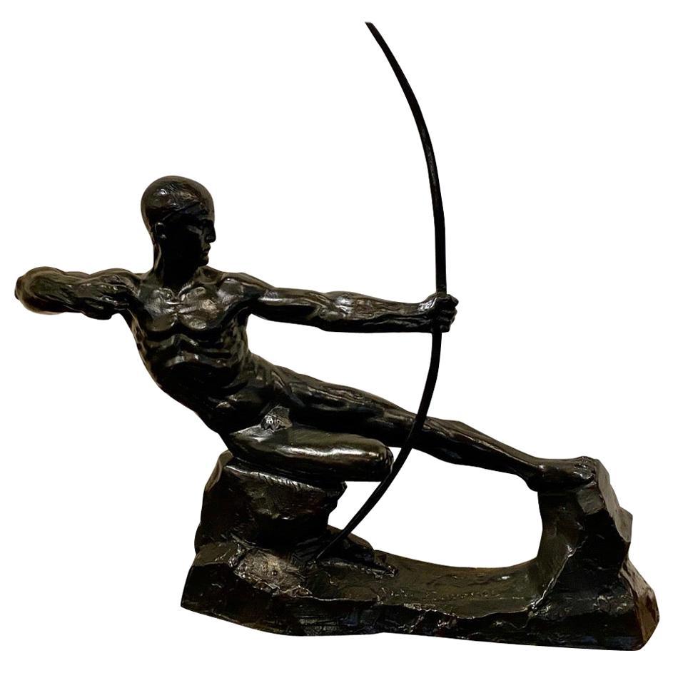 Art Deco Bronze Sculpture Male Nude Archer Hercules Victor Demanet, 1925
