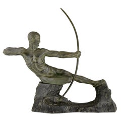 Art Deco Bronze Sculpture Male Nude Archer Hercules Victor Demanet 1925