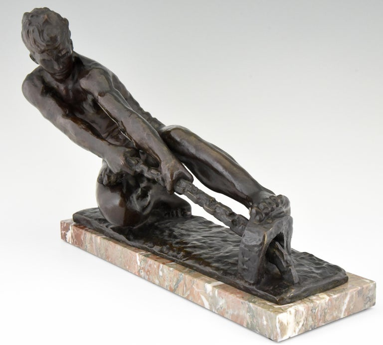 French Art Deco Bronze Sculpture Male Nude Pulling a Rope Alexandre Kelety France, 1930 For Sale