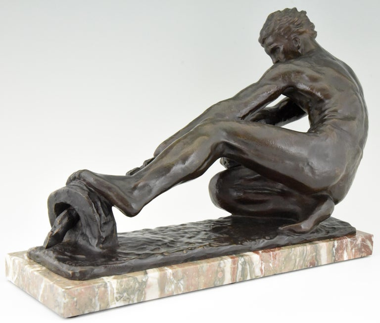 20th Century Art Deco Bronze Sculpture Male Nude Pulling a Rope Alexandre Kelety France, 1930 For Sale