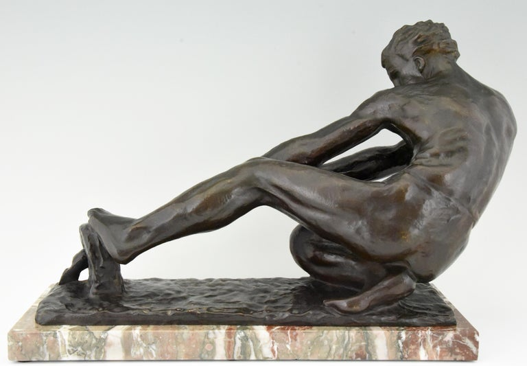 Art Deco Bronze Sculpture Male Nude Pulling a Rope Alexandre Kelety France, 1930 For Sale 1