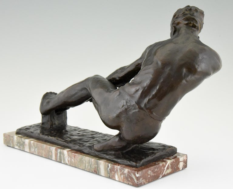 Art Deco Bronze Sculpture Male Nude Pulling a Rope Alexandre Kelety France, 1930 For Sale 2