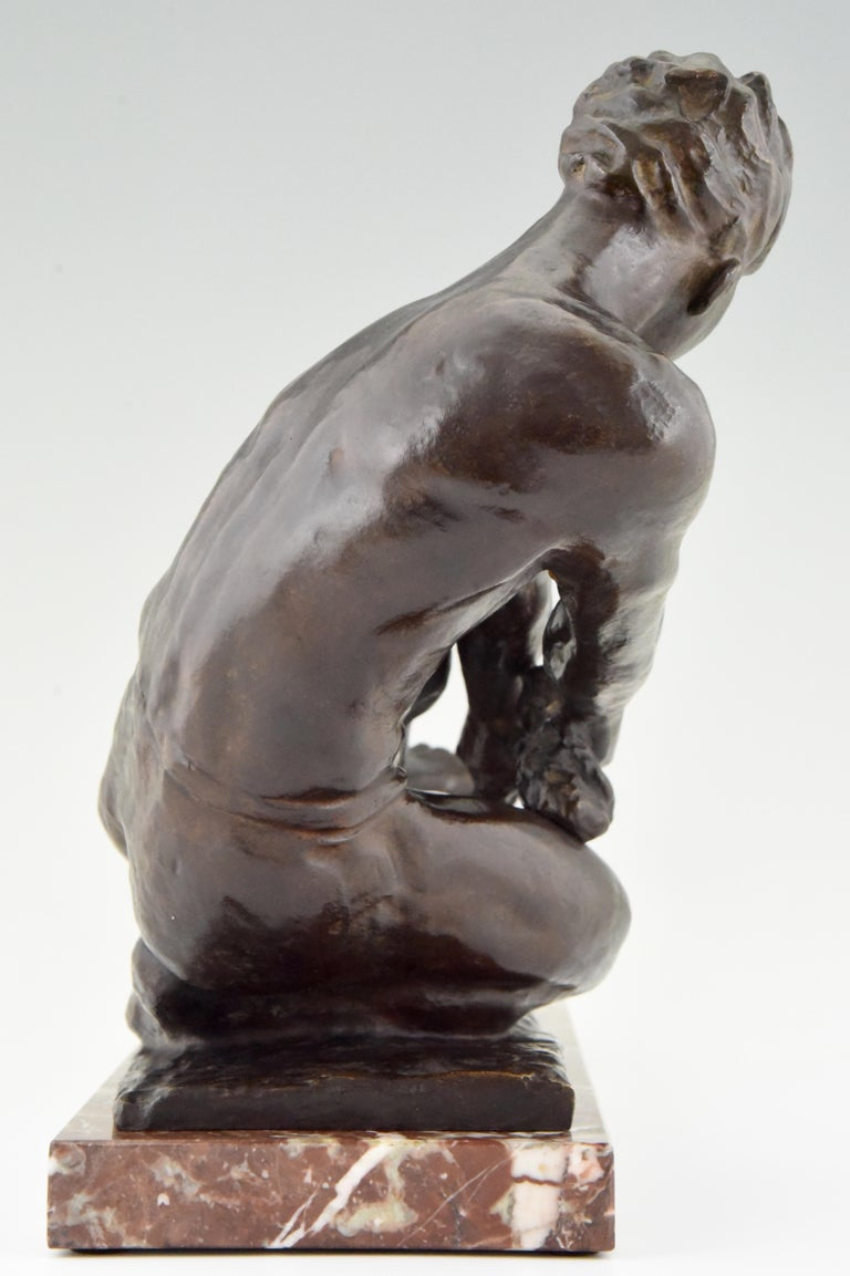 Art Deco Bronze Sculpture Male Nude Pulling a Rope Alexandre Kelety France, 1930 For Sale 3