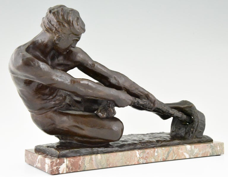 Art Deco Bronze Sculpture Male Nude Pulling a Rope Alexandre Kelety France, 1930 For Sale 4