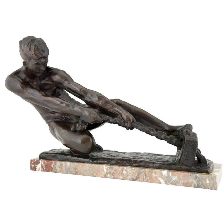 Art Deco Bronze Sculpture Male Nude Pulling a Rope Alexandre Kelety France, 1930 For Sale