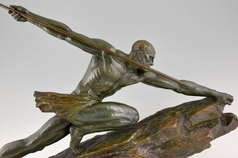 Art Deco Bronze Sculpture Man With Spear Pierre Le Faguays France 1927 For Sale At 1Stdibs-8653