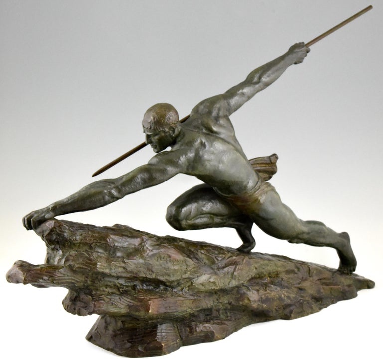 Art Deco Bronze Sculpture Man With Spear Pierre Le Faguays France 1927 For Sale At 1Stdibs-1346