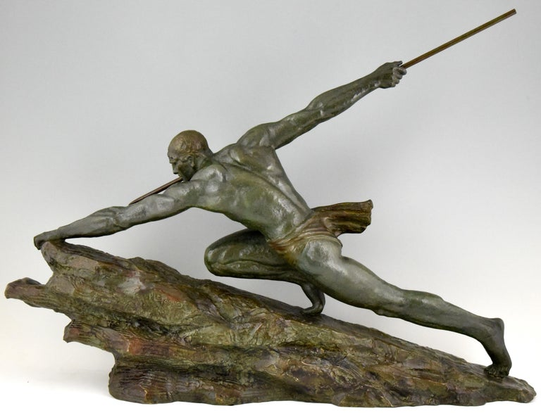 Art Deco Bronze Sculpture Man With Spear Pierre Le Faguays France 1927 For Sale At 1Stdibs-6346