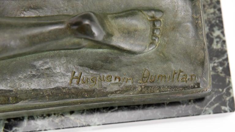 Art Deco Bronze Sculpture Mother and Child Motherhood André Huguenin Dumittan For Sale 6