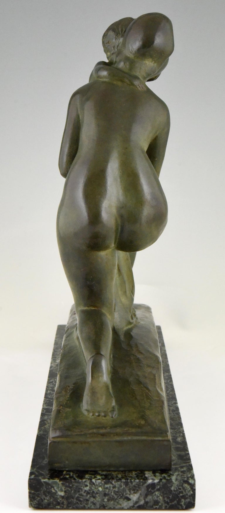 Art Deco Bronze Sculpture Mother and Child Motherhood André Huguenin Dumittan For Sale 1
