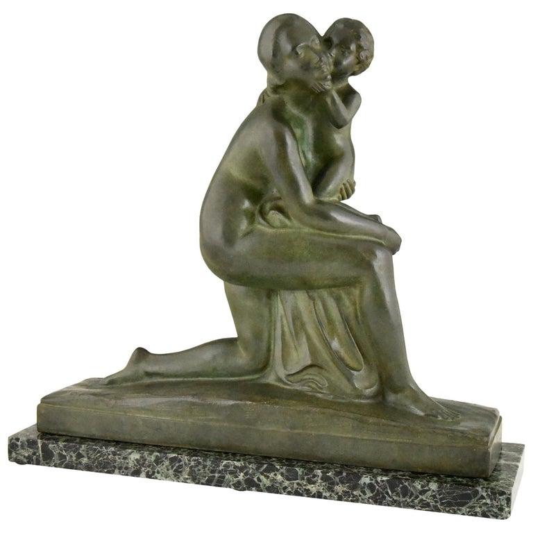 Art Deco Bronze Sculpture Mother and Child Motherhood André Huguenin Dumittan For Sale