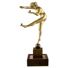 Art Deco Bronze Sculpture, Naked Woman Juggling Balls, 1930s
