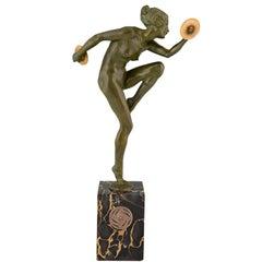 Art Deco Bronze Sculpture Nude Cymbal Dancer Lucien Alliot, France, 1925