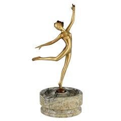 Art Deco Bronze Sculpture Nude Dancer on Marble Tray Joseph Lorenzl, 1925