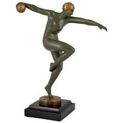 Art Deco Bronze Sculpture Nude Dancer with Ball Maurice Guiraud-Rivière, 1920